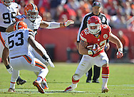 KANSAS CITY, MO - OCTOBER 27:  Running back Anthony Sherman #42 of the Kansas City Chiefs rushes against pressure from linebacker Graig Robertson #53 of the Cleveland Browns during the first half on October 27, 2013 at Arrowhead Stadium in Kansas City, Missouri.  Kansas City won 23-17. (Photo by Peter Aiken/Getty Images) *** Local Caption *** Anthony Sherman;Graig Robertson