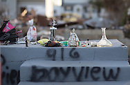 Union Beach NJ, November 16,  Trinkets on the top step of a home destroyed by superstorm Sandy's surge, that damaged over 200 homes in Union Beach alone. Hurricane Sandy's strength is being blamed on climate change by many scientists.