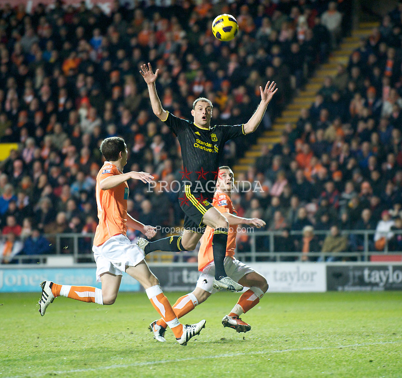 BLACKPOOL, ENGLAND - Wednesday, January 12, 2011: Liverpool's Milan Jovanovic in action against Blackpool during the Premiership match at Bloomfield Road. (Photo by David Rawcliffe/Propaganda)