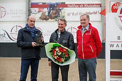 Delabie Stefaan, Bauters Jozef,  receiving Golden BWP award.<br /> BWP hengstenkeuring - Meerdonk 2018<br /> © Hippo Foto - Dirk Caremans<br /> 17/03/2018Wuytack Patrick, Delabie Stefaan, Bauters Jozef, <br /> BWP hengstenkeuring - Meerdonk 2018<br /> © Hippo Foto - Dirk Caremans<br /> 17/03/2018
