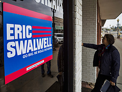 April 28, 2019 - Nevada, Iowa, U.S - A person goes into a campaign event for Rep. Eric Swalwell (D-CA) in Nevada, IA, east of Ames. Swalwell is running for the Democratic nominee for the US Presidency in the 2020 election. Swalwell represents California's 15th District but is originally from Algona, Iowa. Iowa hosts the the first election event of the presidential election cycle. The Iowa Caucuses will be on Feb. 3, 2020. (Credit Image: © Jack Kurtz/ZUMA Wire)