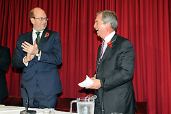 © Licensed to London News Pictures. 04/11/2014<br /> UKIP Leader Nigel Farage Joins the party's Rochester and Strood By-election candidate Mark Reckless at a public meeting at The Hoo Village Institute Hoo St Werburgh, Rochester,Kent.<br /> (Byline:Grant Falvey/LNP)