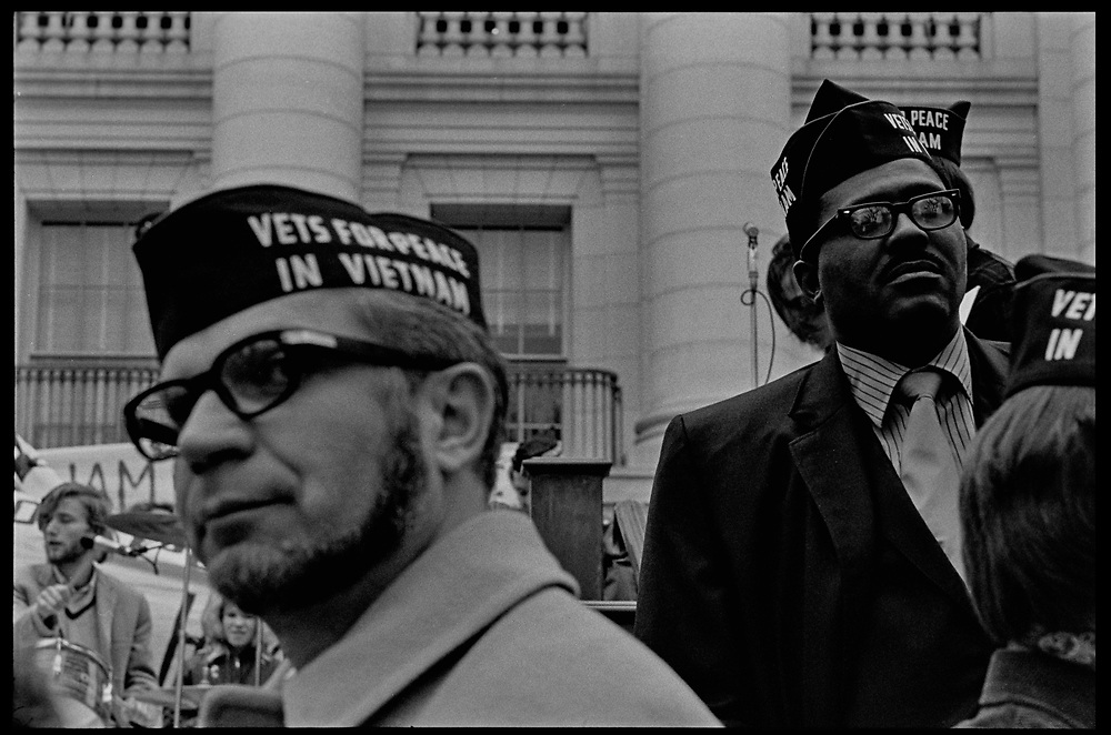 Madison, WI – May, 1970. Protesters against the war in Vietnam on the steps of the Capitol, led by Veterans for Peace in Vietnam. On May 1, 1970, there was a general student strike in response to the news that the U.S. had expanded bombing into Cambodia. There was a march against the war, led by Veterans for Peace in Vietnam; and after the May 4 shootings at Kent State University in Ohio, there were more protests at UW Madison, which led to the police being called in, and teargassing demonstrators in the streets and on campus.