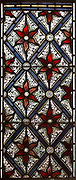 Mary Anne Garrett Memorial ornamental decorative stained glass floral pattern design 1897, Church of Saint Margaret, Leiston, Suffolk, England, UK by C.E. Kempe ( 1837-1907)