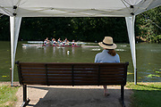 """Henley on Thames, United Kingdom, 22nd June 2018, Friday,   """"Henley Women's Regatta"""",  view, Lone Supporter, watches, a heat of the , """"women's Fours"""", W4-, Henley Reach, River Thames, England, © Peter SPURRIER"""