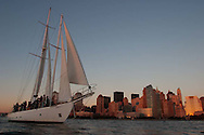 The Shearwater is a 1929 Double Masted Schooner which is located in the North Cove Yacht Harbor and Marina at the World Financial Center Battery Park City Esplanade, directly in front of the WInter Garden in New York City.