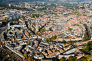 Nederland, Utrecht, Amersfoort, 28-10-2014; overzicht Amersfoort centrum met links Onze-Lieve-Vrouwetoren en de Sint-Joriskerk in het midden<br /> Overview Amersfoort center with Our Lady Tower.<br /> luchtfoto (toeslag op standard tarieven);<br /> aerial photo (additional fee required);<br /> copyright foto/photo Siebe Swart