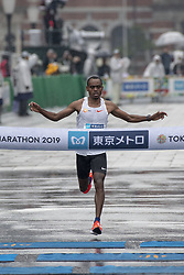 March 3, 2019 - Tokyo, Tokyo, Japan - Legese Birhanu (ETH) crosses the finish line to win the men's race of the Tokyo Marathon 2019 in Tokyo, Japan, March 3, 2019. Some 38,000 runners participated in the thirteenth edition of the Tokyo Marathon, one of the six World Marathon Majors. (Credit Image: © Alessandro Di Ciommo/NurPhoto via ZUMA Press)