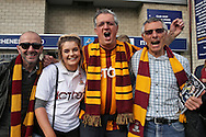 a Group of Bradford City fans chanting outside The Den Stadium before k/o. Skybet football league one play off semi final 2nd leg match, Millwall v Bradford city at The New Den in London on Friday 20th May 2016.<br /> pic by John Patrick Fletcher, Andrew Orchard sports photography.