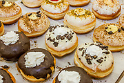Flavoured Sufganiyah a traditional Jewish Doughnut eaten during Hannukah with icing top