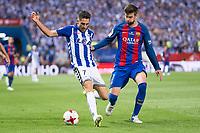 Deportivo Alaves's forward Ruben Sobrino and FC Barcelona's defender Gerard Pique during Copa del Rey (King's Cup) Final between Deportivo Alaves and FC Barcelona at Vicente Calderon Stadium in Madrid, May 27, 2017. Spain.<br /> (ALTERPHOTOS/BorjaB.Hojas)