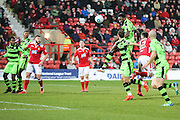Forest Green Rovers Manny Monthe(3) heads the ball during the Vanarama National League match between Wrexham FC and Forest Green Rovers at the Racecourse Ground, Wrexham, United Kingdom on 26 November 2016. Photo by Shane Healey.