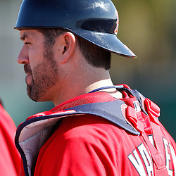 February 18, 2011; Fort Myers, FL, USA; Boston Red Sox catcher Jason Varitek (33) during spring training at the Player Development Complex.  Mandatory Credit: Derick E. Hingle