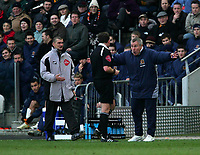 Photo: Andrew Unwin.<br />Hull v Norwich City. Coca Cola Championship. 11/02/2006.<br />Hull's manager, Peter Taylor (R), appeals to the referee, Mr J Moss (C).