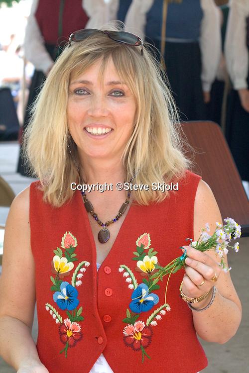 Marie Blom singer entertainer from Sweden. Svenskarnas Dag Swedish Heritage Day Minnehaha Park Minneapolis Minnesota USA