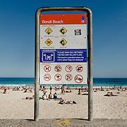 Sign on the beach of Bondi Beach