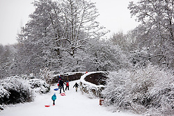 © Licensed to London News Pictures. 21/01/2013. Atherstone, North Warwickshire, UK. Snow freezing on the trees and canals around Atherstone in North Warwickshire. Youngsters with a day off school make for slopes in Atherstone. Photo credit : Dave Warren/LNP