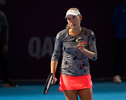 February 13, 2019 - Doha, QATAR - Elise Mertens of Belgium in action during second round at the 2019 Qatar Total Open WTA Premier tennis tournament (Credit Image: © AFP7 via ZUMA Wire)