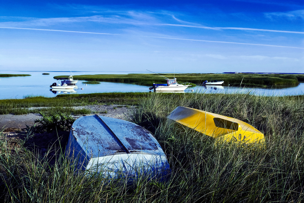 Beached rowboats and anchored boats in Cape Cod Bay, Orleans, Cape Cod, MA