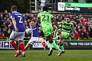 Forest Green Rovers Dayle Grubb(8) shoots at goal during the EFL Sky Bet League 2 match between Forest Green Rovers and Exeter City at the New Lawn, Forest Green, United Kingdom on 4 May 2019.