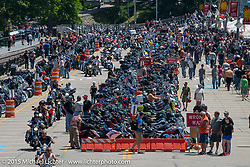 Lakeside Avenue in Weir's Beach during Laconia Motorcycle Week. NH, USA. June 19, 2014.  Photography ©2014 Michael Lichter.