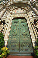 Central doors  of the the Gothic-Renaissance Duomo of Florence,  Basilica of Saint Mary of the Flower; Firenza ( Basilica di Santa Maria del Fiore ).  Built between 1293 & 1436. Italy