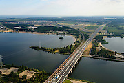 Nederland, Flevoland, Almere, 27-08-2013; Hollandse brug, A6<br /> verbindt Noord-Holland met Flevoland. In de verte ligt Almere. Rechts het Eemmeer, links het Gooimeer.<br /> Hollandse brug (bridge) connects the provinces of North Holland and Flevoland. <br /> luchtfoto (toeslag op standaard tarieven);<br /> aerial photo (additional fee required);<br /> copyright foto/photo Siebe Swart.