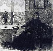 Histoires et Aventures'  Hans Christian Andersen (1805-1875) Danish author. Etching of Grandmother for 1909 edition.