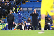 AFC Wimbledon manager Wally Downes shouting during the EFL Trophy match between U21 Chelsea and AFC Wimbledon at Stamford Bridge, London, England on 4 December 2018.