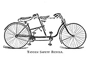 Tandem Safety Bicycle From Wheels and Wheeling; An indispensable handbook for cyclists, with over two hundred illustrations by Porter, Luther Henry. Published in Boston in 1892