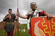 Re-enactment soldiers at Housesteads Fort on Roman Hadrian's Wall, once the northern frontier of Rome's empire.
