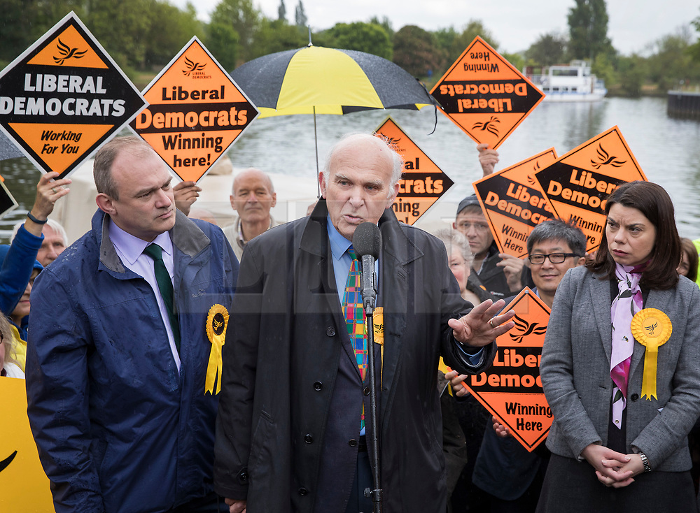 © Licensed to London News Pictures. 01/05/2017. London, UK. Liberal Democrat Parliamentary candidates Ed Davey (L) and Sarah Olney (R) look on as Vince Cable speaks to supporters- as a day of campaigning begins in Kingston-Upon-Thames. The general election is on June 8th 2017. Photo credit: Peter Macdiarmid/LNP
