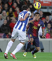 06.01.2013 Barcelona, Spain. La Liga day 18. Picture show Dani Alves and capdevila in action during game between FC Barcelona against RCD Espanyol at Camp Nou