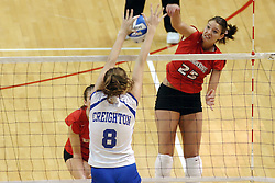 24 November 2006: Lauren Bloemke blocks a strike from Peggy Riessen during a Quarterfinal match between the Illinois State University Redbirds and the Creighton University Bluejays. The Tournament was held at Redbird Arena on the campus of Illinois State University in Normal Illinois.<br />