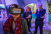 Virtual reality is common this year, here on the Clipper racing stand - The London Boat Show opens at the Excel centre. London 06 Jan 2017