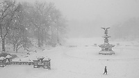 Bethesda, Angel of the Waters, braving a blizzard in Central Park, Feb. 1, 2021.
