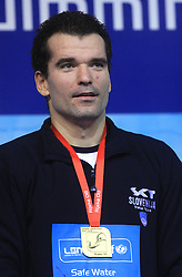 Winner at Men`s 100m Individual Medley Peter Mankoc of Slovenia (9th times European Champion) at day 4 of LEN European Short Course Swimming Championships Rijeka 2008, on December 14, 2008,  in Kantrida pool, Rijeka, Croatia. (Photo by Vid Ponikvar / Sportida)