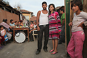 Engagement party for two Roma teenagers. Dancing and drinking and general merry making were the order of the day. Roma Gypsies living in Fakulteta Mahala, Roma Ghetto on the outskirts of Sofia, Bulgaria