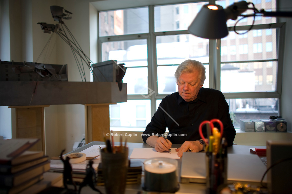 Architect Lebbeus Woods, who has uncompromisingly hewed to experimental, unbuilt designs throughout his career -- such as his crisis designs for Sarajevo, Havana and San Francisco after the quake, poses in his New York home. A vanishing breed of architect whose mission is to forge a provocative vision of a possible realty. Aug 22, 2008.