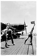 F-6F Taking off from carrier deck, WWII
