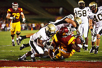 1 September 2007: #10 Shiloh Keo and Breyon Williams tackle Tailback #2 C.J. Gable in the end zone for a touchdown during the USC Trojans college football team defeated the Idaho Vandals 38-10 at the Los Angeles Memorial Coliseum in CA.  NCAA Pac-10 #1 ranked team first game of the season.