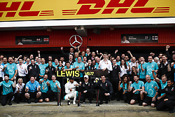 May 13, 2018 - Barcelona, Catalonia, Spain - May 13th, 2018 - Circuit de Barcelona-Catalunya, Montmelo, Spain - Race of Formula One Spanish GP 2018; Lewis Hamilton of Mercedes-AMG-Petronas Formula One Team and Valtteri Bottas of Mercedes-AMG-Petronas Formula One  Team celebrates the result of the team Mercedes in Spain. (Credit Image: © Eric Alonso via ZUMA Wire)