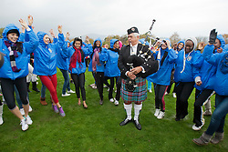 Pipe major David Boyle..The Miss World 2011 contestants take part in Highland Games in the grounds of Crieff Hydro, Perthshire..MISS WORLD 2011 VISITS SCOTLAND..Pic © Michael Schofield.