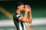 Plymouth Argyle's Jake Jervis puts his hands to his head after missing a goal scoring chance during the Sky Bet League 2 match between Plymouth Argyle and York City at Home Park, Plymouth, England on 28 March 2016. Photo by Graham Hunt.