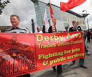 A march of over 5000 people took place in Derby against a  decision by the Government to source the Thameslink trains to Siemens. This will result in the loss of 1400 jobs at Bombardier. Derby, UK, 23rd July 2011.