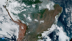 August 21, 2019, Amazon Rainforest: From 22,300 miles in space, NOAA's GOES16 captured this image of fires burning in the  Amazon Rainforest today, August 21, 2019. Fires are raging at a record rate in Brazil's Amazon rainforest, and scientists warn that it could strike a devastating blow to the fight against climate change. There have been 72,843 fires in Brazil this year, with more than half in the Amazon region, INPE said. That's more than an 80 percent increase compared with the same period last year. (Credit Image: © NOAA/ZUMA Wire/ZUMAPRESS.com)