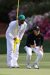 April 8, 2018 - Augusta, GA, USA - Jordan Spieth lines up his birdie putt on thirteen during the final round of the Masters at Augusta National Golf Club on Sunday, April 8, 2018, in Augusta, Ga. (Credit Image: © Curtis Compton/TNS via ZUMA Wire)