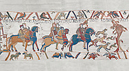 Bayeux Tapestry scene 2 : Harlod leaves for Normandy to inform William he will eucceed to English Throne.  BYX2 .<br /> <br /> If you prefer you can also buy from our ALAMY PHOTO LIBRARY  Collection visit : https://www.alamy.com/portfolio/paul-williams-funkystock/bayeux-tapestry-medieval-art.html  if you know the scene number you want enter BXY followed bt the scene no into the SEARCH WITHIN GALLERY box  i.e BYX 22 for scene 22)<br /> <br />  Visit our MEDIEVAL ART PHOTO COLLECTIONS for more   photos  to download or buy as prints https://funkystock.photoshelter.com/gallery-collection/Medieval-Middle-Ages-Art-Artefacts-Antiquities-Pictures-Images-of/C0000YpKXiAHnG2k