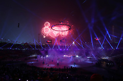 Fireworks are set off as the Olympic torch is lit during the Opening Ceremony of the PyeongChang 2018 Winter Olympic Games at the PyeongChang Olympic Stadium in South Korea.