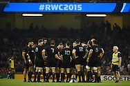 New Zealand players get in a group ahead of the 2nd half starting. Rugby World Cup 2015 pool c match, New Zealand v Georgia at the Millennium Stadium in Cardiff, South Wales  on Friday 2nd October 2015.<br /> pic by  Andrew Orchard, Andrew Orchard sports photography.